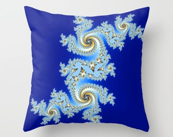 Abstract Pillow, Fractal Pillow, Blue Pillow, Ice Pillow, Throw Pillow Cover, Digital Art Pillow, Swirls Pillow, Pattern Pillow, Light Blue