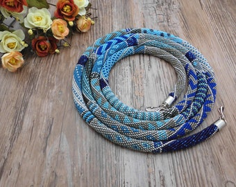 Lariat Beaded necklace, Denim crochet rope, jeans lariat, beaded necklace, patchwork, denim necklace, crochet jewelry FREE SHIPPING