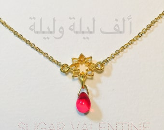 One Thousand and One Nights choker, star choker, Red beads necklace