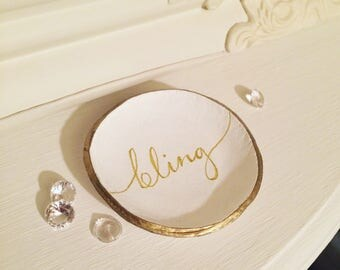 Clay Ring Dish, Jewellery storage, handmade, personalised gift box, bling,metallic, Mother's Day, Gifts for her, Gifts for Mum, wedding gift