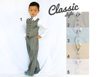 Toddlers and Boys Linen Vest 4-Piece Set Gray Blue Beige White, Baptism Christening Wedding Birthday