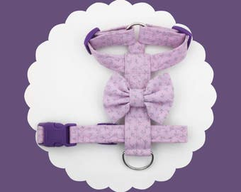 Lavender Floral & Bow Dog or Puppy Harness