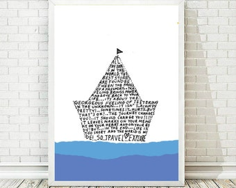 Nursery Decor Boy, Printable Art, Inspirational Poster,  Kids Wall Art,  Boat, Typography Art Print, Typography Poster, INSTANT DOWNLOAD