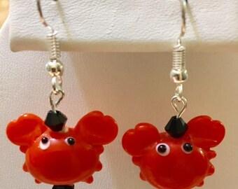 Glass Orange Crab Earrings