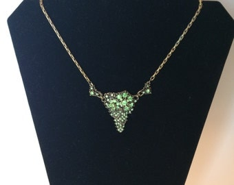 Vintage Gold tone Emerald colored stone necklace, choker, statement necklace
