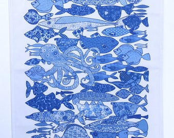 Tea towel, fish, blue and white, dishcloth, kitchen towel. Coastal home gift for couple. Easy to post Easter gift for friend or family