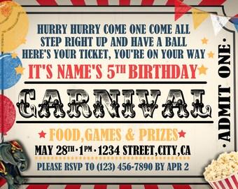 Circus Carnival Theme Digital PDF Invite 5x7