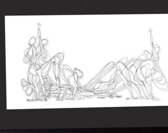 """Yoga ink print 13.5"""" x 39"""" illustration, sun salutation pose, extremely special. By Sarah Pierroz"""