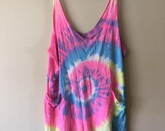 Vintage 1990s LA FLAME Neon Tie Dye Beach Slouchy Romper Shorts One Size