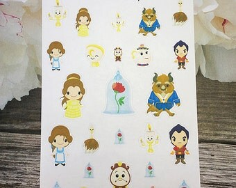 25 Beauty and the Beast / Chibi Planner Stickers
