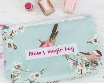 Personalised Bird Design Makeup Bag - mother's day gift - grandmother gift - gift for nan - beauty bag - makeup bag - personalized make up