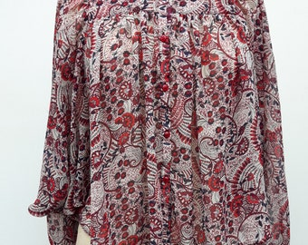 70s Floral Design Cropped Blouse
