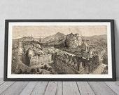 Large Print of Edinburgh 1868, 1m long poster, views to Castle, Arthur's Seat, Princess Street   Fine Art Giclée Print of Engraving
