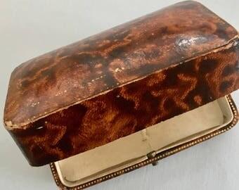 Antique papier mache jewllery box with satin lining