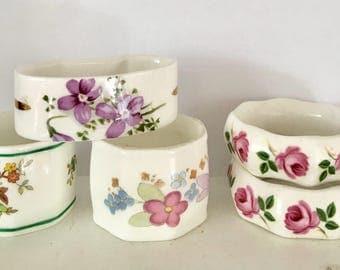 mixed set of five bone china floral napkin rings