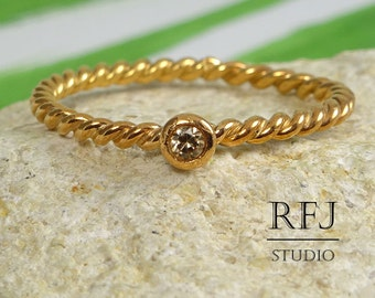 Rope Lab Cognac Diamond Rose Gold Ring, 2 mm Cognac Cubic Zirconia 14K Rose Gold Plated Stackable Ring Gold Plated CZ Ring Diamond Gold Ring