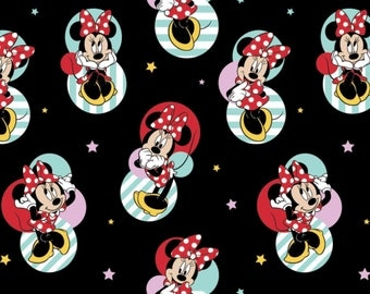 "Disney Fabric, Minnie Fabric: Disney Minnie Mouse - Disney Minnie Mouse Badges on Black  100% cotton Fabric by the yard 36""x43"" (SC193)"