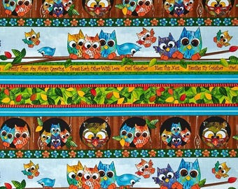 """Cartoon Fabric, Owl Fabric:  Owls Family Owl In The Family Owl Stripe Multi Quilting Treasures 100% cotton Fabric by the yard 36""""x43"""" (H237)"""
