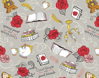 """In stock- New Disney Beauty and the Beast Fabric: Belle's Friends Character on Gray by Camelot 100% Cotton Fabric by the yard 36""""x43"""" (CA105"""