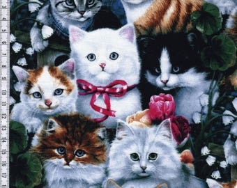 Cat Fabric: Valentine's Kitties Cats Packed Adorable Premium by David Textiles 100% cotton Fabric (DA30)