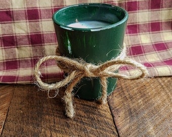 Green candle votive, Distressed, Country Decor