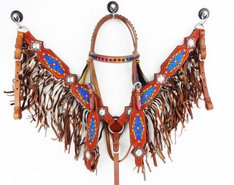 Brown Embroidered Suede Navajo Fringe Leather Show Headstall Western Horse Trail Barrel Racing Bridle Breast Collar Plate Tack Set