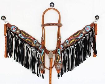 Black Suede Fringe Leather Headstall Western Horse Bridle Breast Collar Plate Bling Tack Show Barrel Racer Set