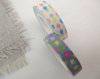 Washi Tape, Two Rolls, 3/8 wide , Confetti Dots , Favors, Gift Wrapping, Scrapbooking, Washi Masking Tape
