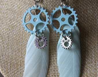"steampunk with pen and gears ""13"" earrings"