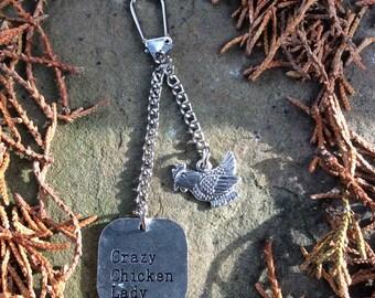 Crazy chicken lady keyring, chicken keeper keychain, chicken gift