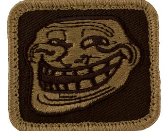 """Tactical Troll Face Patch (With Velcro) Subdued Desert Colors (K22) 1.75"""" x 2"""""""