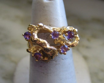 Vintage Gold Plated Amethyst Ring