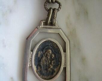 Vintage Silver Tone St. Joseph Pray For Us Medal Pendant