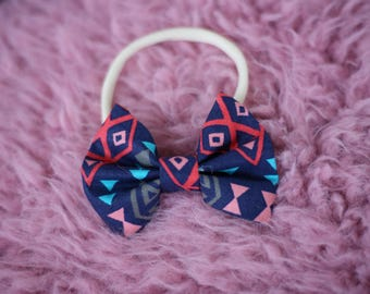 Navy Aztec Hair Bow