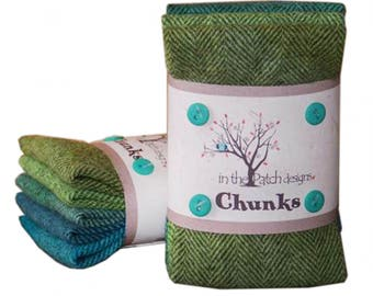 Irish hand dyed wool chunk collection from In the Patch design, vibrant blues and greens