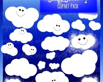 80% OFF SALE Comfy Clouds V2 clipart, sky, smiles, commercial use, vector graphics, digital clip art, digital images - pack 114