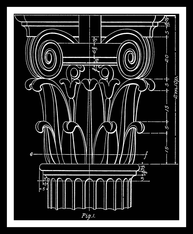 Architectural Wall Decor set of 2, columns, blueprint in black, architecture, architectural
