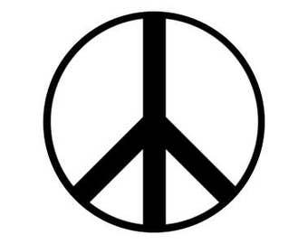 "Peace Symbol Black 1"" pinback button"