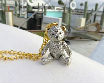 Vintage Articulated Teddy Bear Necklace // Two Tone Teddy Bear Charm // Vintage Moveable Teddy Bear Charm Necklace // FREE SHIPPING