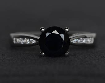 natural black spinel ring black rings sterling silver round cut gemstone