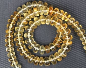 16 inch long strand smooth CITRINE rondelles beads 7 -- 9 mm approx