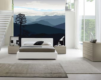Hills of Bhutan / Nature wall mural / Nature wall decor / Home decor / Scandinavian design / Removable wall decor / ECO-friendly wall mural