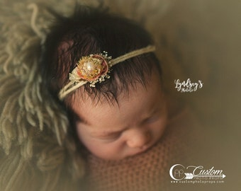 Harper Autumn Flower Hemp Tie Back Headband, Newborn Tie Back Headband Photo Props, Newborn Baby Props, Custom Photo Props, Baby Girl