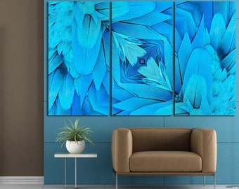 Teal Feather Mandala Canvas Wall Art, Turquoise Wall Art Turquoise Mandala Wall  Art Canvas Set