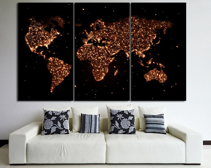 Large night world map print, night glow map, light map canvas print, large art print for home or office decoration world map canvas wall art