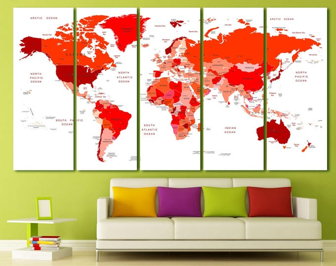 Red modern world map print with country names canvas print, red travel map modern art print set, large red world map printable art on canvas