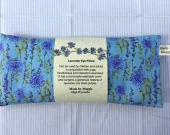 Lavender Eye Pillow with pretty lavender print slip-cover, Relaxation eye pillow, Lavender eye bag, Yoga and mindfulness eye pillow