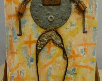 Outsider Art: Metal Man Assemblage by David Rassin 1997 Found Objects Mixed Media Original Art