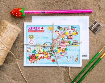 Japan Map Illustration Postcard Mini Print