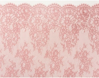 OLD ROSÈ/ dusty rosé - colored Chantilly Lace, Eyelash lace, Bridal Lace Fabric, Evening dress Lace, Lingerie Lace - (CHF2-ODR)